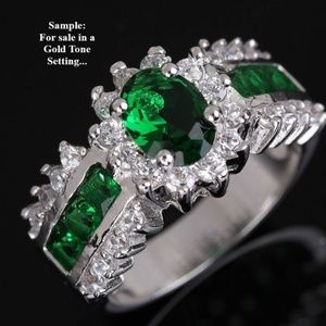 GOLD TONE SETTING EMERAL GREEN & CLEAR SAPPHIRES 8